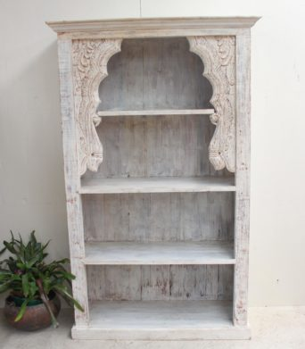 Vintage Teak Bookcase - Antique White