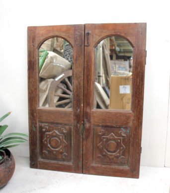 Vintage Teak Shutter with Mirror - AJ18a