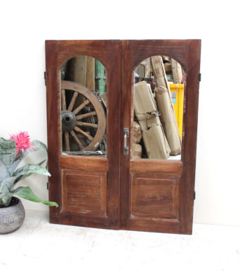 Vintage Teak Shutter with Mirror - AJ18d