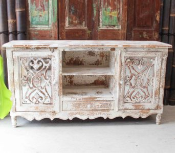 Rustic White Cabinet/ Entertainment Unit - CH13