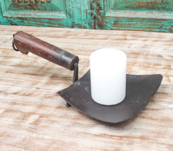 Iron and Teak Table Candle Holder