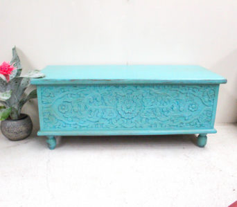 Hand Carved Recycled Teak Chest - Aqua