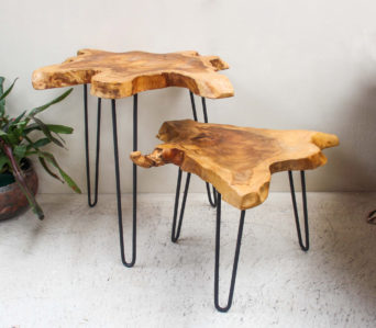 Reclaimed Teak Root - Side Table with Iron legs