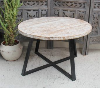 Recycled Teak White Table 80cm dia