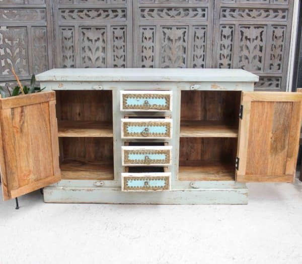 Recycled Teak 4 Drawer Side Board - Barron Imports