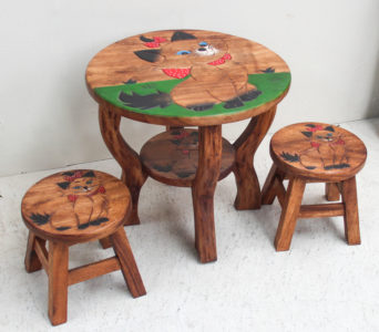 Recycled Teak Table and Stool Set - Cat