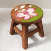 Recycled Teak Kids Stool - Pink Butterfly