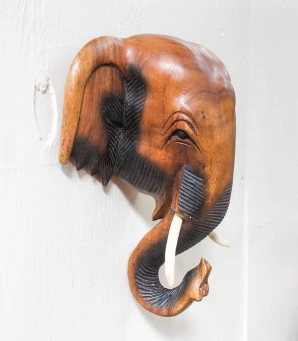 Hand Carved Elephant Head - Barron Imports