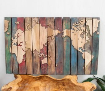 World Map Coloured - Teak Carved