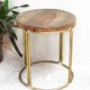 Round Gold and Wood Side Table/Stool