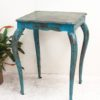 Rustic Turquoise Metal Side Table