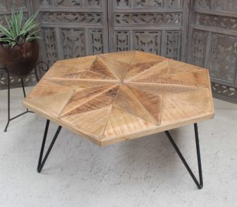 Wooden Topped Hexagonal Table