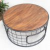 Iron and Wood Round Coffee Table