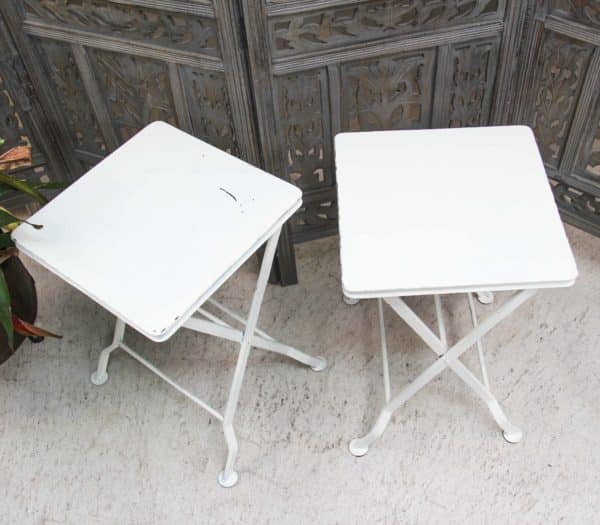 Metal Folding Stool - White - Barron Imports