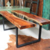 Monkeywood Dining Table with Glass 'River Table'