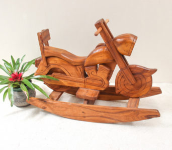 Recycled Teak Rocking Motorbike - Natural