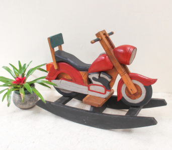 Recycled Teak Rocking Motorbike - Coloured
