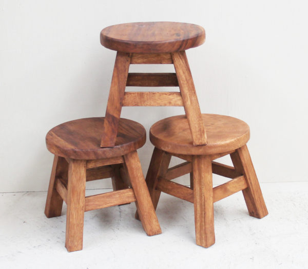 Recycled Teak Stool - Small Round