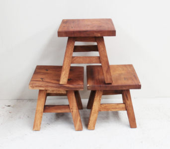 Recycled Teak Stool - Small Square