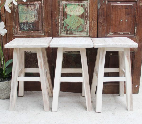 White Wash Recycled Teak Stool - Square or Round Top - Barron Imports