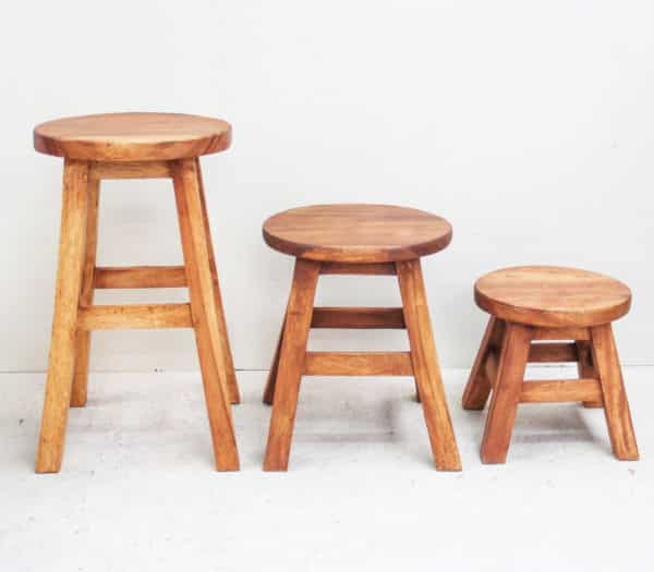 Recycled Teak Stool - Tall Round Top - New Stock Arriving Soon - Barron Imports