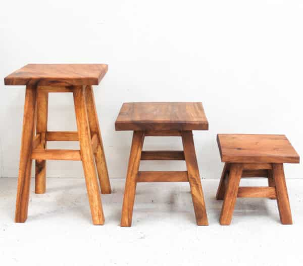 Recycled Teak Stool - Tall Square Top - Barron Imports