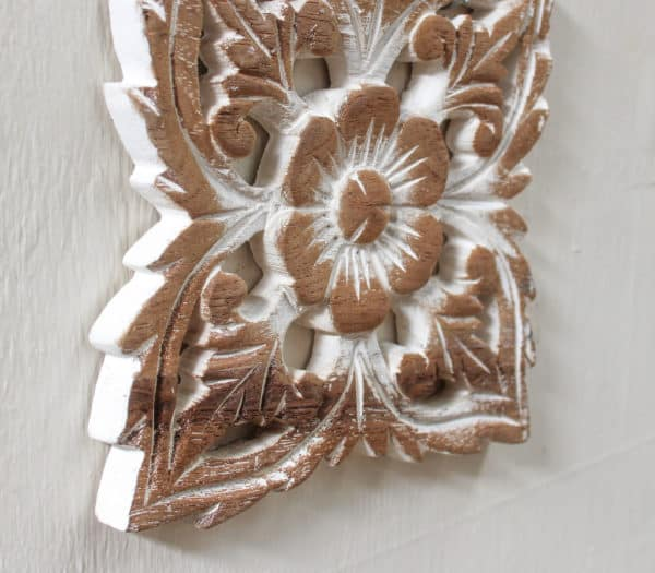 "Hand Carved Teak - 6"" Square White - Barron Imports"
