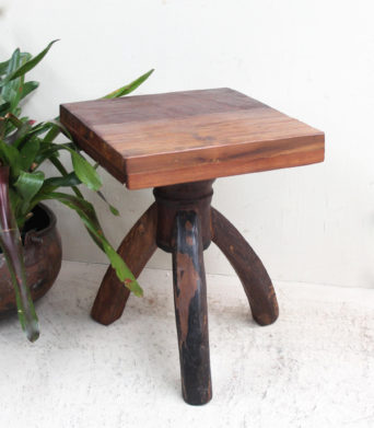 Recycled Wagon Teak Stool