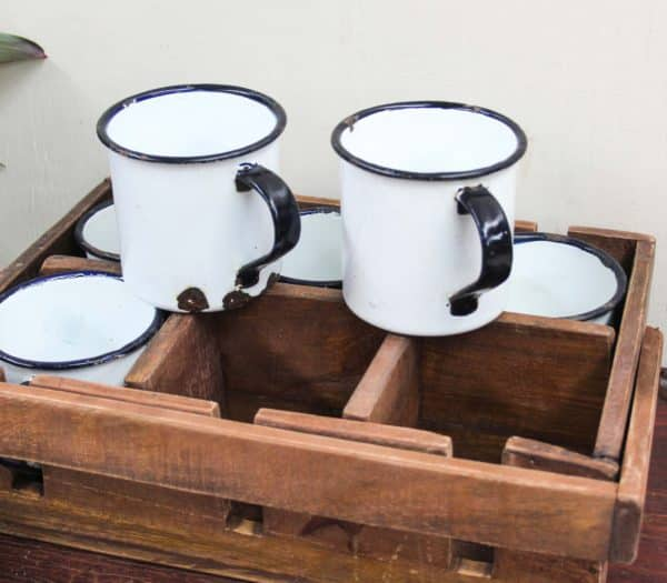Tray with 6 Enamel Mugs - Barron Imports