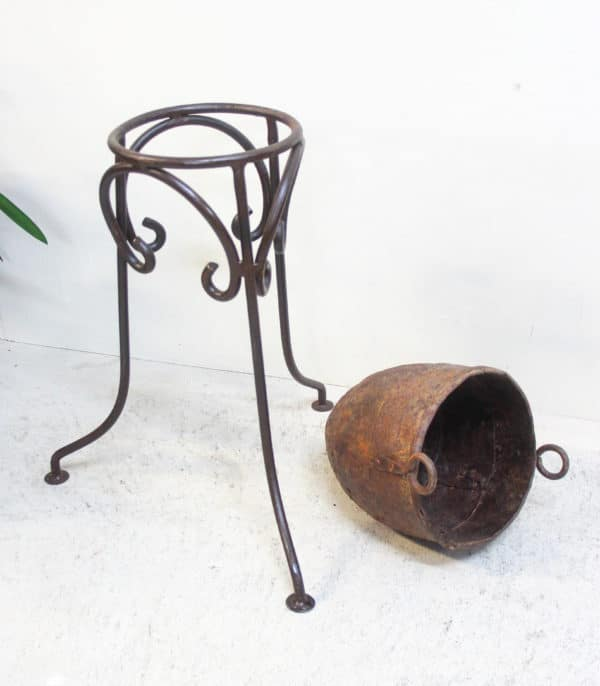 Iron Stand with Rustic Vintage Pot - Barron Imports