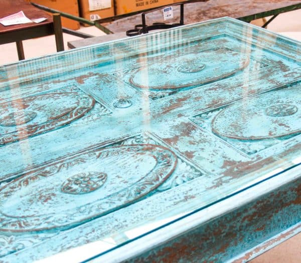 Vintage Glass Top Dining Table #CH03b - Barron Imports