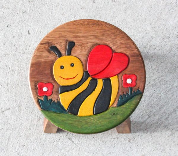 Recycled Teak Kids Stool - Bee - Barron Imports