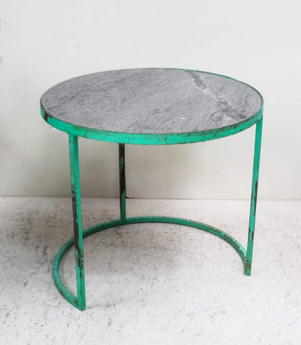 Iron Rustic Marble Top Side Table - PR558 - Barron Imports