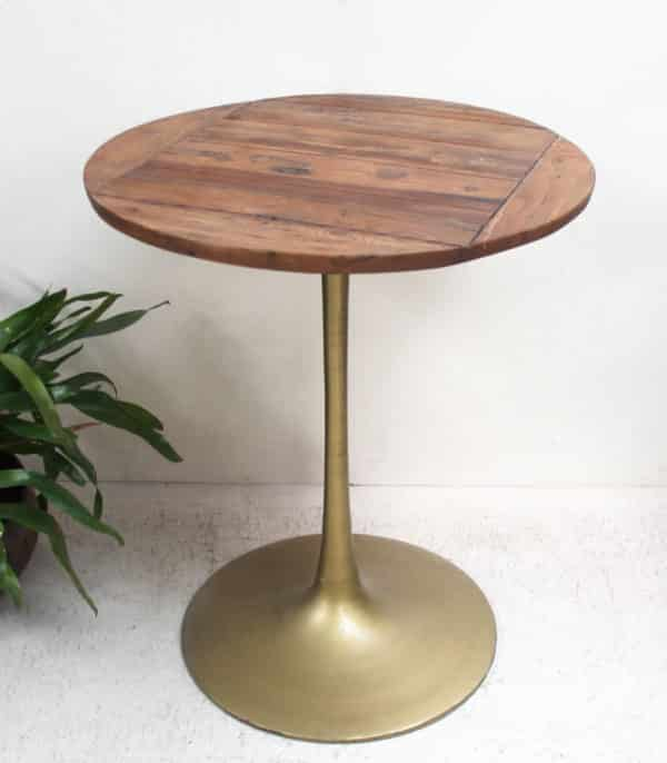 Wooden/Gold Iron Cafe Table - PR607 - Barron Imports