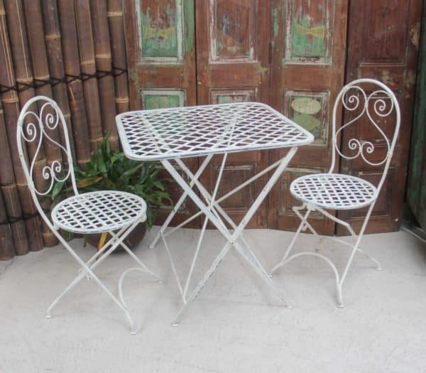 Outdoor Folding Table and Chair Set/3 - White - Barron Imports