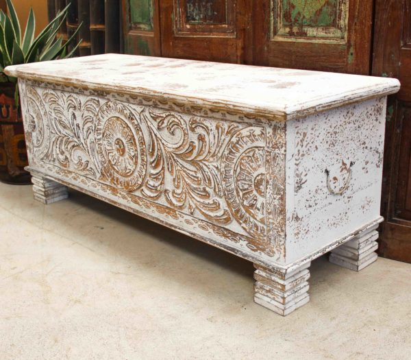 Antique White Hand Carved Chest - CH01a - Barron Imports