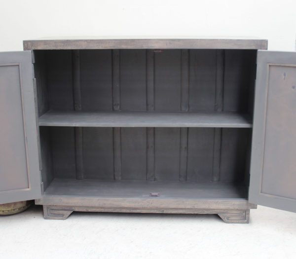 Teak Hand Carved Mirrored Cabinet - Charcoal CH12 - Barron Imports