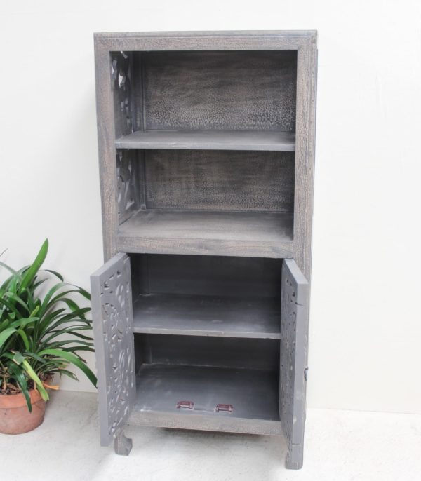 Teak Hand Carved Bookcase/Cabinet - Charcoal CH13 - Barron Imports