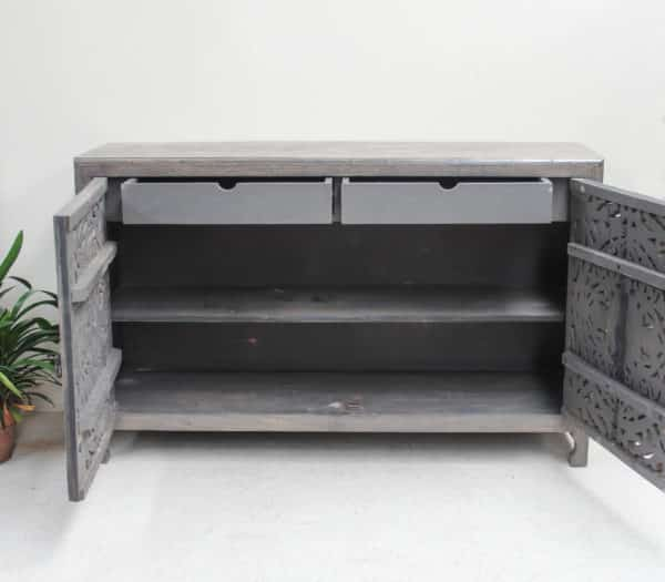 Teak Hand Carved Cabinet - Charcoal CH21 - Barron Imports