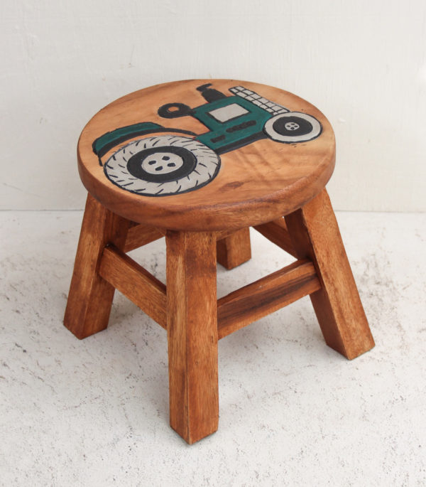Recycled Teak Kids Stool - Tractor Green Arriving Soon - Barron Imports