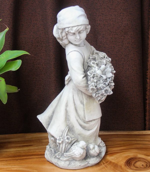 Garden Statue - Girl with Posy #24 - Barron Imports