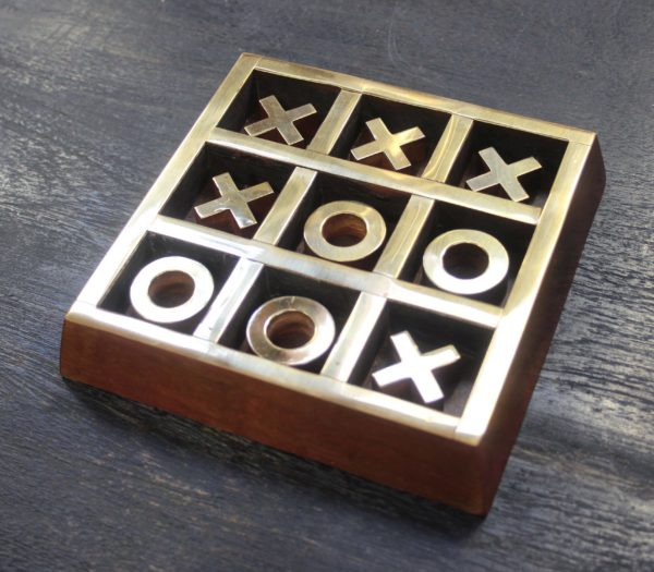 Tic Tac Toe Wood and Brass Game - Barron Imports