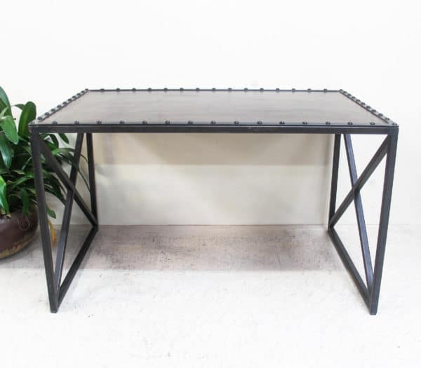 Iron Studded Leather Top Table - PR2-12 - Barron Imports