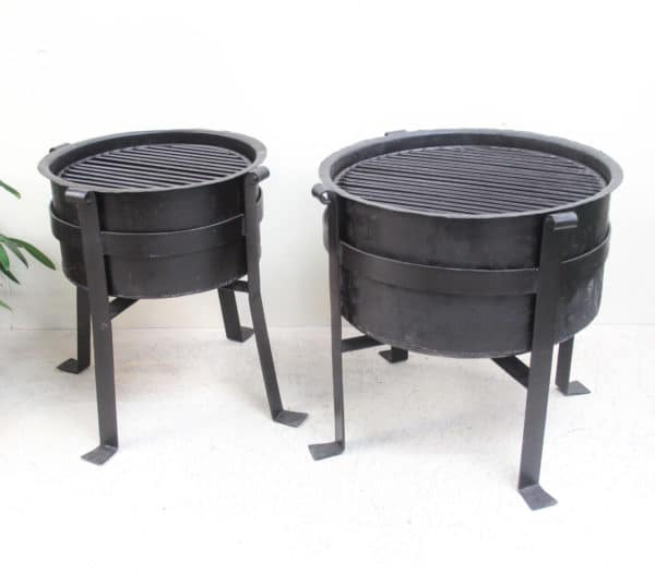 Iron Fire Pit/ Brazier with Removable Grill - Barron Imports