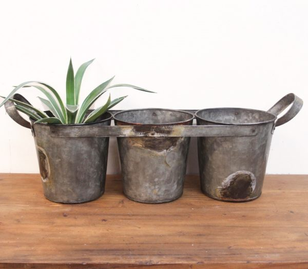 Rustic Tri Bucket with Handles - Barron Imports